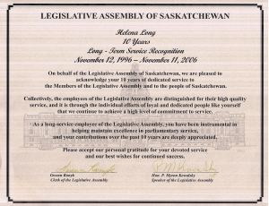 Long-term Service Recognition, Saskatchewan Legislative Assembly