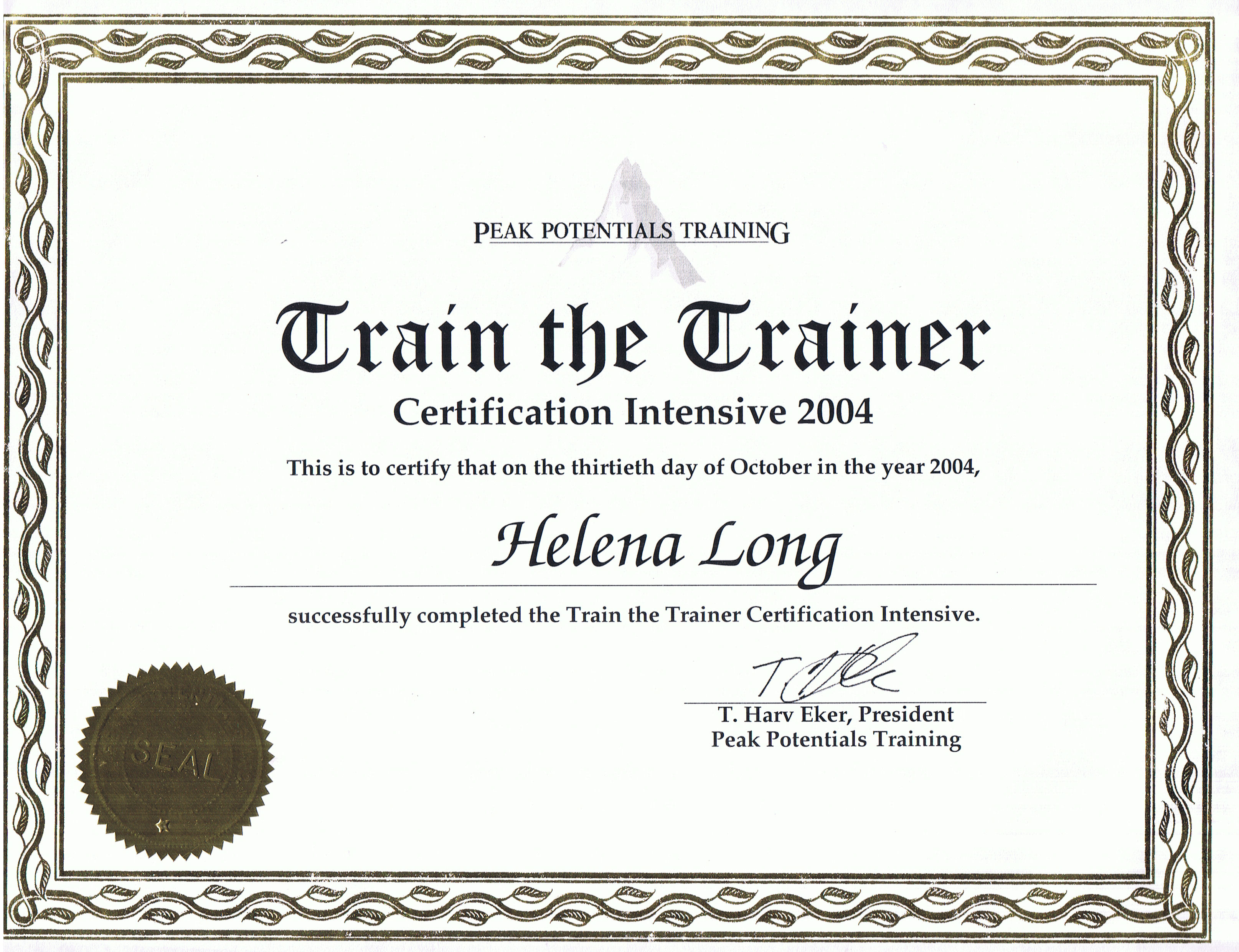 Credentials and qualifications helena long copywriter editor certificate of completion of the train the trainer intensive xflitez Gallery