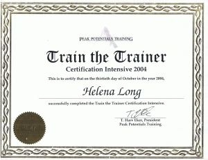 Certificate of completion of the Train the Trainer Intensive